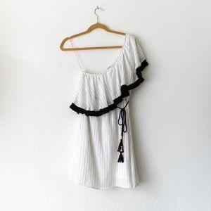 Flying Tomato One Shoulder Dress M White Black